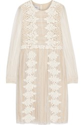 Valentino Paneled Embroidered Lace Dress Off White