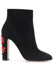 Dolce And Gabbana Embellished Crystal Flowers Boots Black