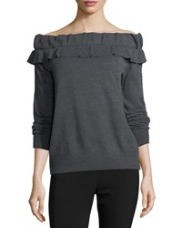 Collective Concepts Off The Shoulder Ruffled Sweater Charcoal
