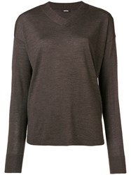 Aspesi Fine Knit V Neck Sweater Brown
