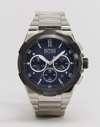 Hugo Boss Stainless Steel Chronograph Watch With Blue Dial Silver