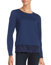 Lord And Taylor Lace Hem Tee Navy Night