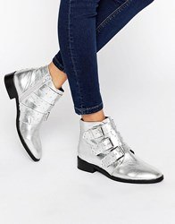 Asos Ashleigh Leather Studded Ankle Boots Silver Leather