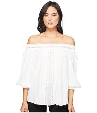 Hale Bob Piece Of Work Viscose Crepe With Lace Trim Off Shoulder Top Ivory Women's Clothing White