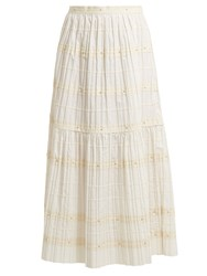 Red Valentino Ric Rac Trimmed Pleated Cotton Skirt White