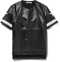 Givenchy Columbian Fit Appliqued Leather And Ponte T Shirt Black