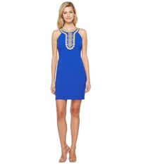 Christin Michaels Chiari Halter Dress With Embroidered Detail Royal Women's Dress Navy