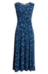 Chaus Flowering Vines Ruched Stretch Jersey Dress Evening Navy