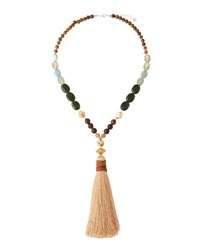 Nakamol Long Beaded Tassel Necklace Brown