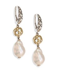 John Hardy Legends Naga 11Mm White Baroque Pearl Sterling Silver And 18K Yellow Gold Drop Earrings Silver Multi