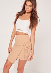 Missguided Double Tie Side Wrap Asymmetric Mini Skirt Nude Beige