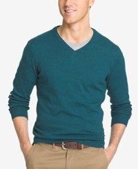 Izod Men's V Neck Sweater Deep Teal Heather