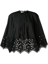 Giamba Gathered Embroidered Swing Blouse Black