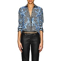Versace Harlequin Print Silk Twill Blouse Md. Blue