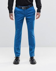 Noose And Monkey Super Skinny Suit Trousers With Stretch Cornflour Blue