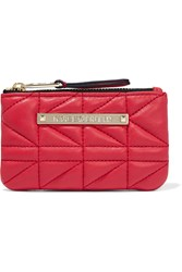 Karl Lagerfeld Quilted Leather Pouch Pink