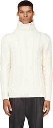 Balmain Ivory Cable Knit Turtleneck Sweater