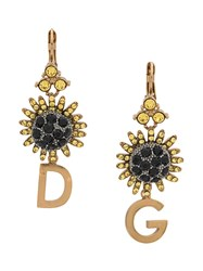 Dolce And Gabbana Crystal Embellished Logo Pendant Earrings Gold