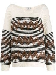 Closed Striped Knitted Jumper Neutrals