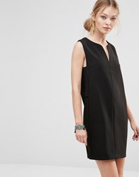 See U Soon Shift Dress With Open Neck Black Navy