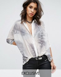 Religion Sheer Shirt In Feather Print Lily White