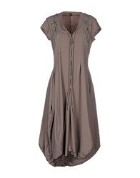 High Dresses Knee Length Dresses Women Grey