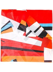 Emilio Pucci Striped Scarf Red