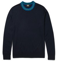 Paul Smith Ps By Contrast Trimmed Merino Wool Blend Sweater Navy