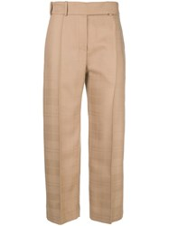 Alexandre Vauthier Creased Cropped Trousers Nude And Neutrals
