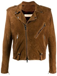 Giorgio Brato Fitted Biker Jacket Brown