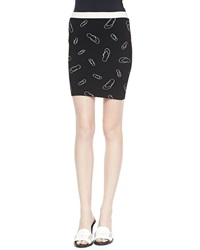 Band Of Outsiders Flip Flop Printed Pencil Skirt 0 Uk 0
