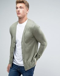 Asos Cardigan In Green Cotton Slate Stone