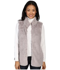 Dylan By True Grit Plush Faux Vintage Heather Fur Hook Vest W Pockets Heather Women's Vest Gray