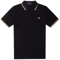 Fred Perry Original Twin Tipped Polo Black And Champagne
