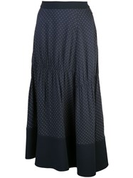 Tibi Pindot Shirred Panel Skirt Blue