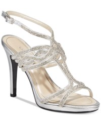 Caparros Heather Embellished Strappy Evening Sandals Women's Shoes Silver Metallic