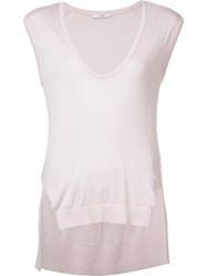 Tome Plunging Neck Knit Tank Top Pink Purple