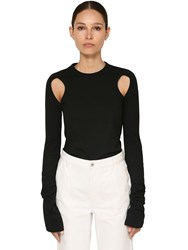 Loewe Cut Out Cotton Jersey Top Black