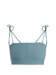 Made By Dawn Arrow Ribbed Bandeau Bikini Top Light Blue