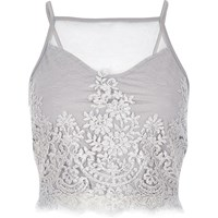 River Island Womens Grey Sheer Lace Crop Top
