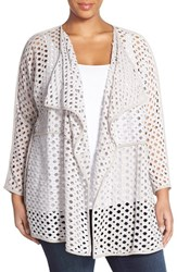 Plus Size Women's Nic Zoe 'Holey' Cotton Drape Front Cardigan
