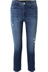 J Brand Ruby Cropped Distressed High Rise Straight Leg Jeans Mid Denim Usd