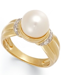 Macy's Cultured Freshwater Pearl 8 1 2 Mm And Diamond Accent Ring In 14K Gold Black