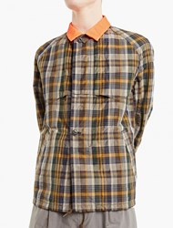 Kolor Checked Jacket With Contrasting Collar Grey