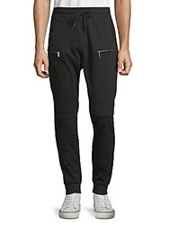 American Stitch Pique Drawstring Joggers Black