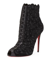 Christian Louboutin Indiboot Lace Front Red Sole Bootie Black
