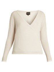 Pepper And Mayne Signature Wrap Over Cashmere Top Cream