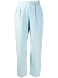 Yves Saint Laurent Vintage 1970'S High Rise Tapered Trousers Blue