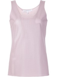 Carolina Herrera Perforated Leather Tank Top Pink And Purple
