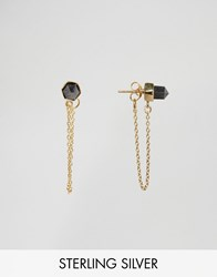 Asos Gold Plated Sterling Silver Rock Chain Earrings Gold